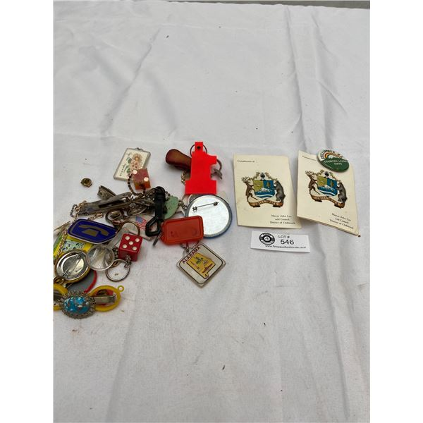 Vintage Lot of Keychains, Buttons Etc