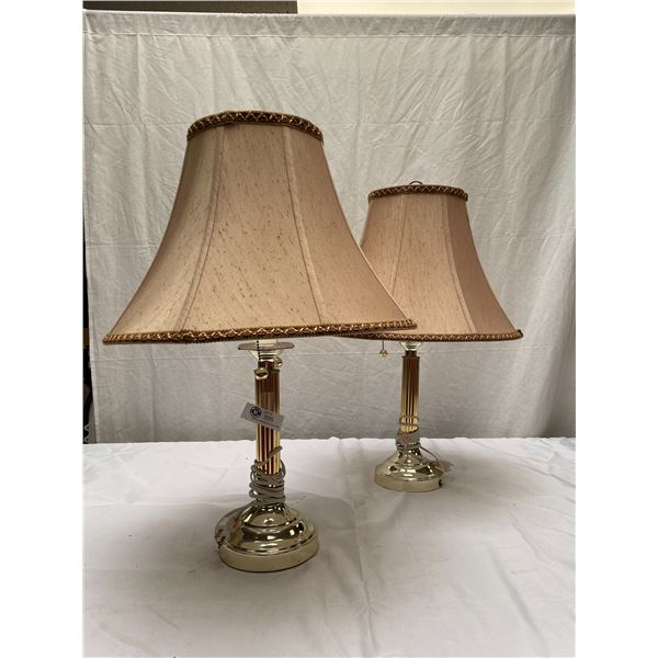 """Pair of Very Nice Table Lamps With Shades 27"""" T x 18""""w"""