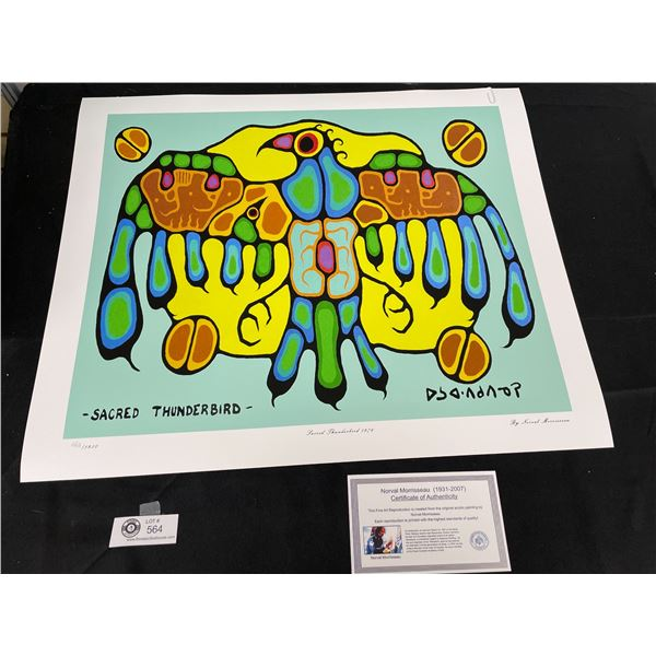 """Norval Morrisseau (1931-2007) """" Sacred Thunderbird 1976"""" Numbered Print with COA 24""""x 20"""""""