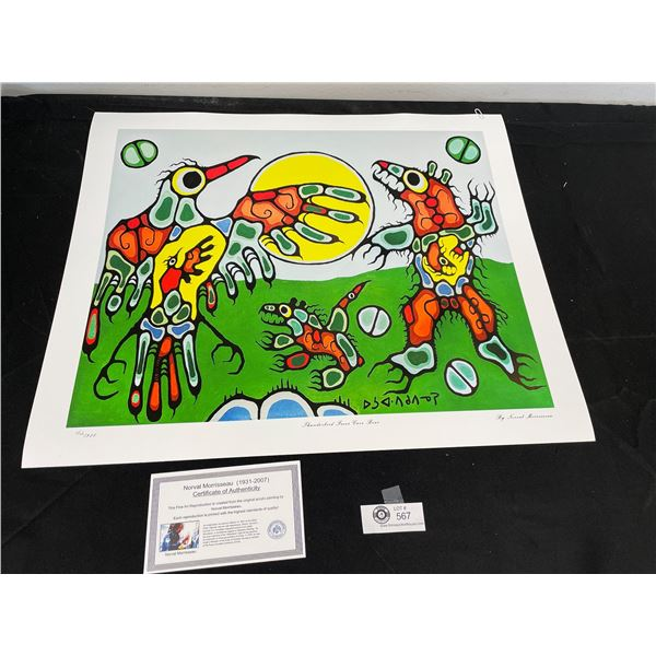 """Norval Morrisseau (1931-2007) """" Thunderbird Faces Cave Bear"""" Numbered Print with COA 24""""x 20"""""""