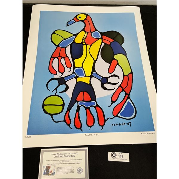 """Norval Morrisseau (1931-2007) """" Astral Thunderbird"""" Numbered Print with COA 24""""x 20"""""""