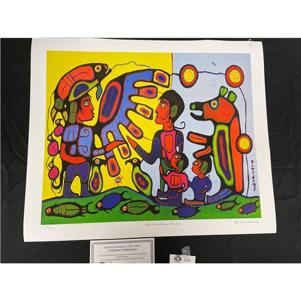 """Norval Morrisseau (1931-2007) """" Thunderbird Shaman Teaching"""" Numbered Print with COA 24""""x 20"""""""