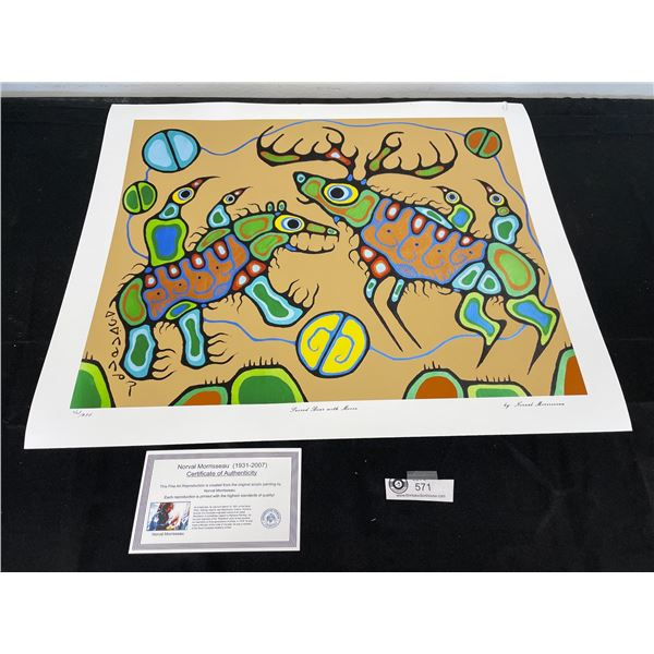 """Norval Morrisseau (1931-2007) """" Sacred Bear With Moose"""" Numbered Print with COA 24""""x 20"""""""