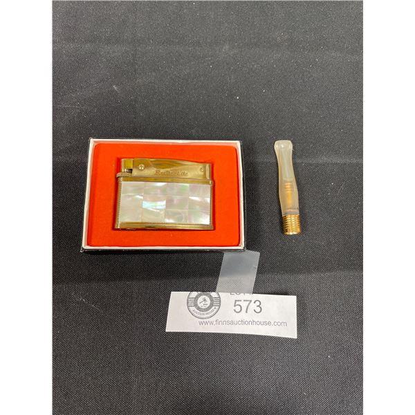 Vintage Brothen-Lite Gas Lighter With Box And Cigarette Holder