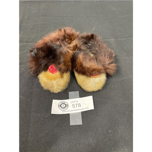 Vintage Seal Skin Baby Moccassins With Fur Trim