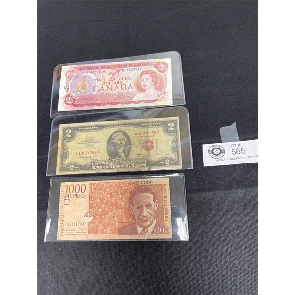 1974 Canadian $2 Bill Plus Old US $2 and 1000 Columbia Pesos