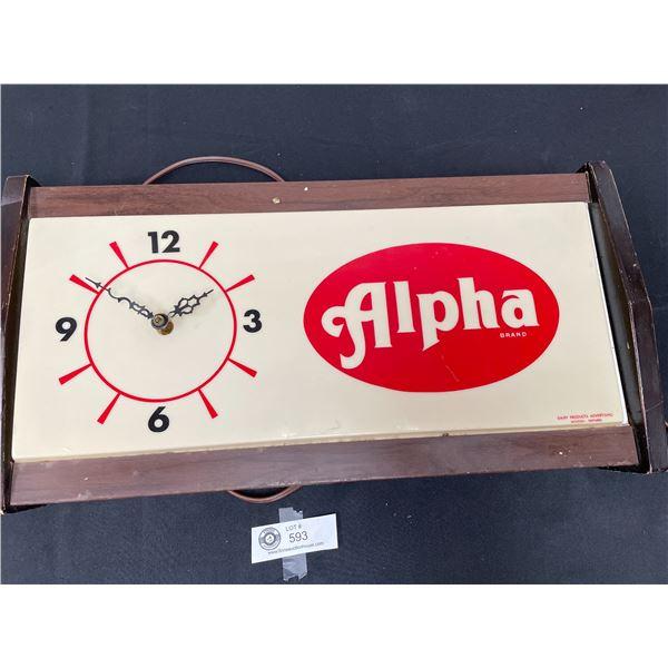 Vintage Light Up Alpha Dairy Clock. Lights Up Clock Sometimes Works