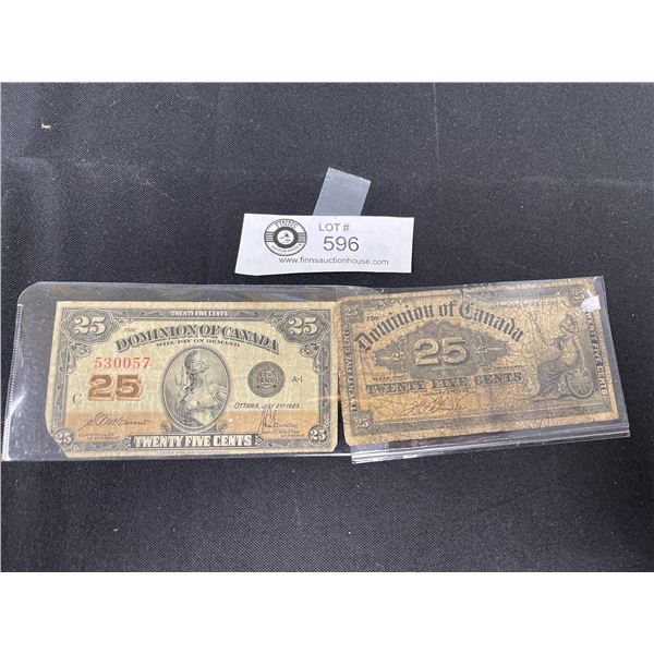 1900 and 1923 Dominion of Canada 25Cent Notes in Holders