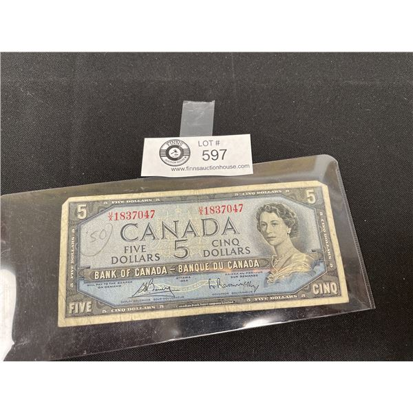 1954 Bank of Canada $5 Bank Note in Holder