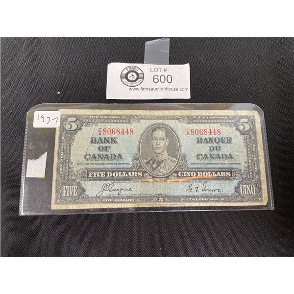 1937 Bank of Canada $5 Note in Holder
