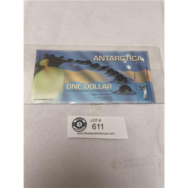 2007 Antartica $1 Bank Note in Holder