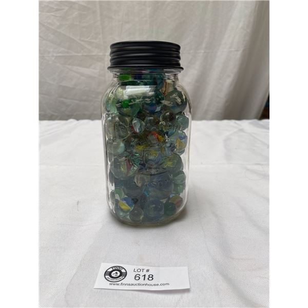 Old Mason Jar full of Old Marbles Various Sizes
