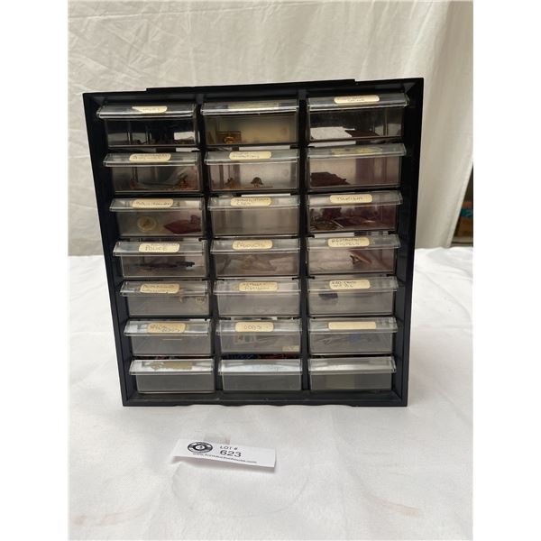 Plastic Case with 21 Drawers Filled With Vintage Pins, Advertising, Airline Police Etc