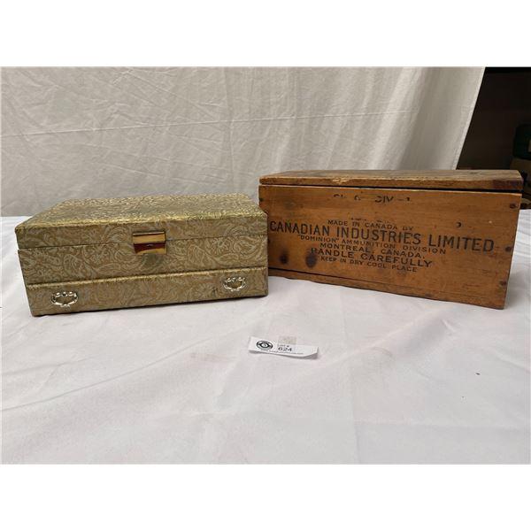 Vintage Canadian Industries LTD Ammunition Box +Jewelry Box