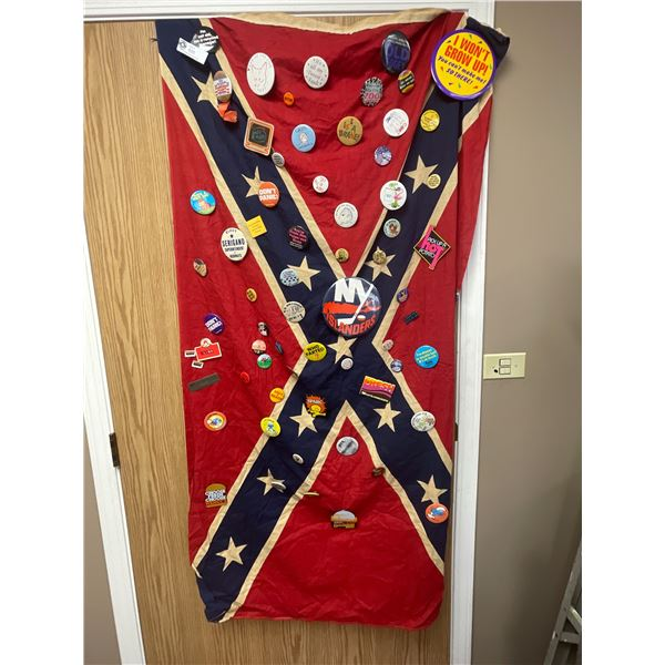 Vintage Confederate Flag Covered in Buttons