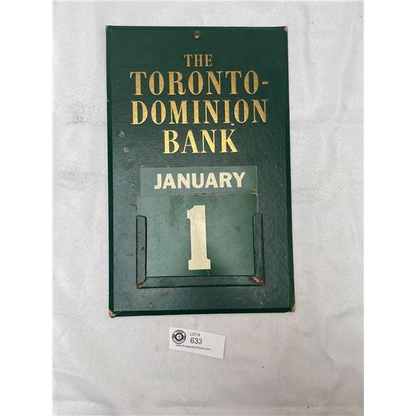 Vintage Toronto Dominion Bank Wall Calendar