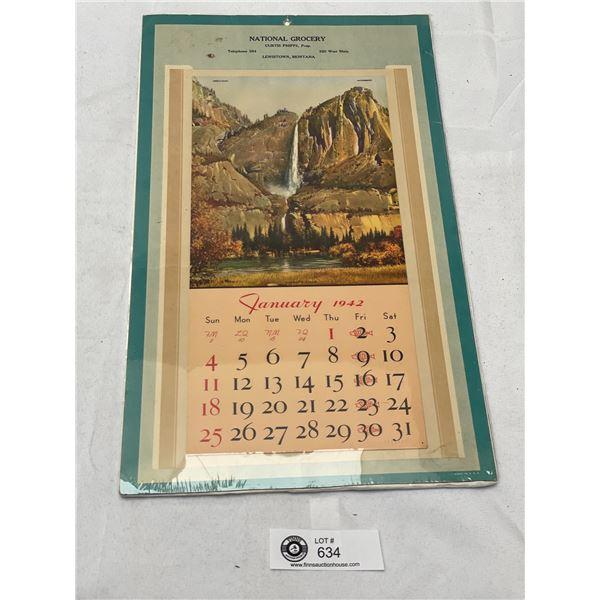 1942 National Grocery Montana Calendar On Board