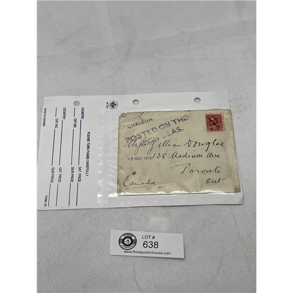1914 Canada 2Cent Stamp on Envelope Posted on the High Seas