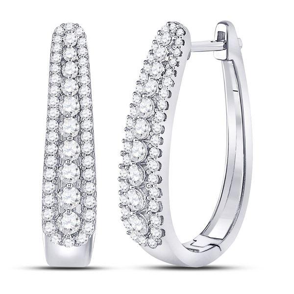Round Diamond Oblong Hoop Earrings 7/8 Cttw 10KT White Gold
