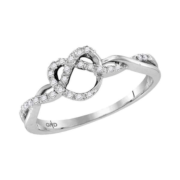 Round Diamond Heart Pretzel Ring 1/8 Cttw 10KT White Gold