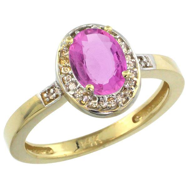 1.15 CTW Pink Sapphire & Diamond Ring 10K Yellow Gold - REF-47R2H