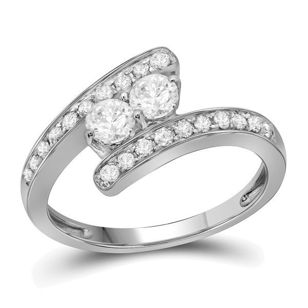 Diamond 2-stone Bridal Wedding Engagement Ring 3/4 Cttw 10KT White Gold