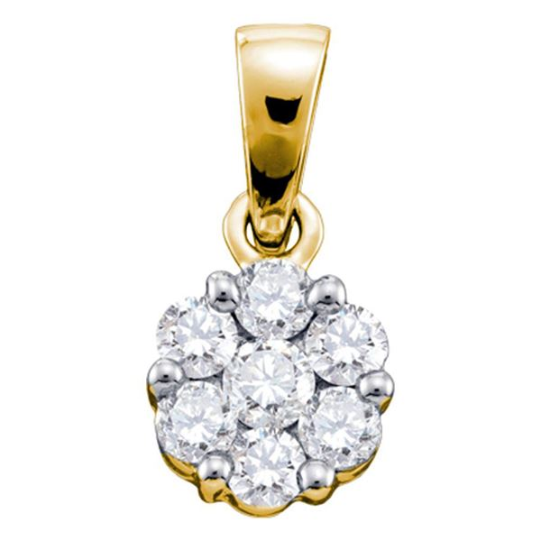 Round Diamond Flower Cluster Pendant 1/4 Cttw 14KT Yellow Gold