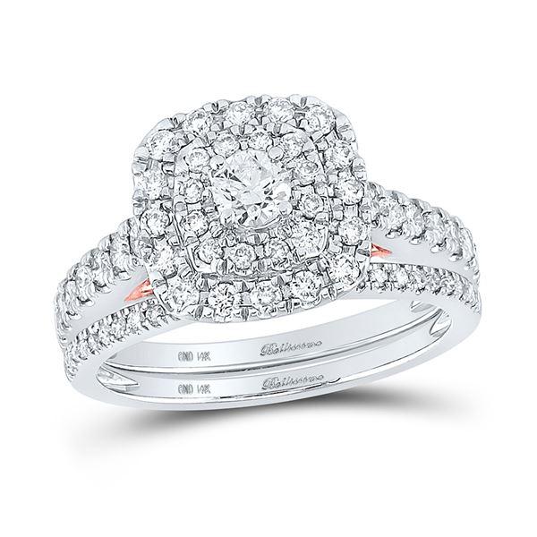 Diamond Bridal Wedding Ring Band Set 1 Cttw 14KT Two-tone Gold