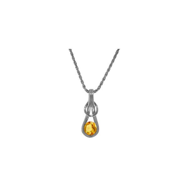 Genuine 0.65 ctw Citrine Necklace 14KT White Gold - REF-73H7X