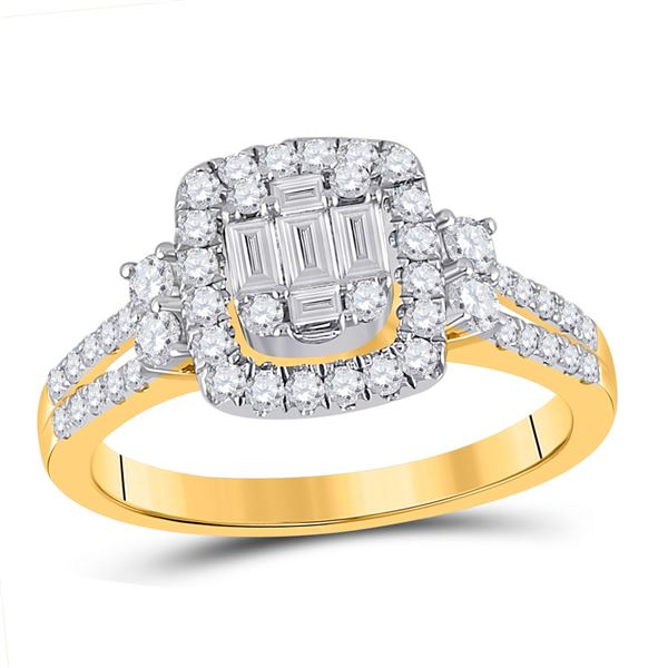 Baguette Diamond Square Cluster Ring 3/4 Cttw 14KT Yellow Gold