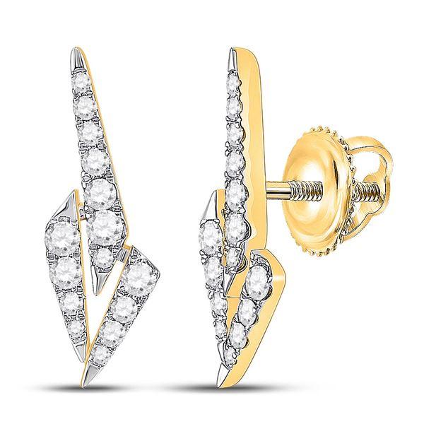 Round Diamond Fashion Earrings 1/2 Cttw 14KT Yellow Gold