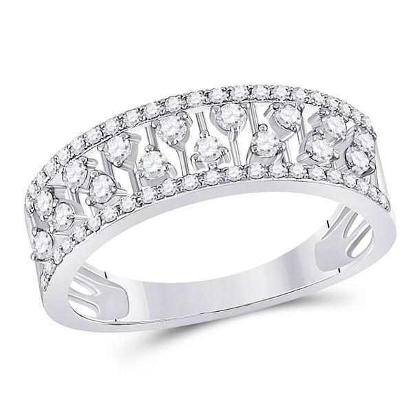 Round Diamond Fashion Anniversary Ring 3/8 Cttw 14KT White Gold
