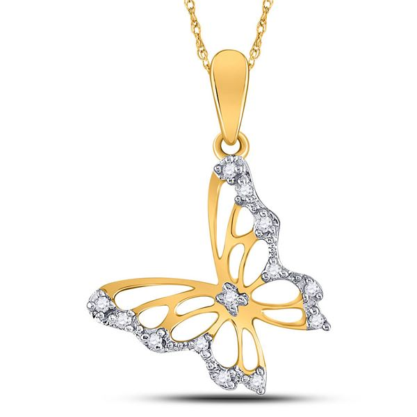Round Diamond Butterfly Bug Pendant 1/20 Cttw 10KT Yellow Gold