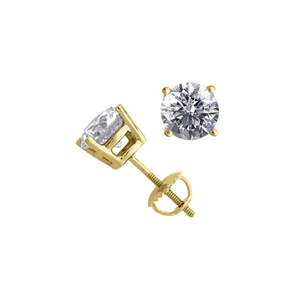 14K Yellow Gold 2.04 ctw Natural Diamond Stud Earrings - REF-519F2Y
