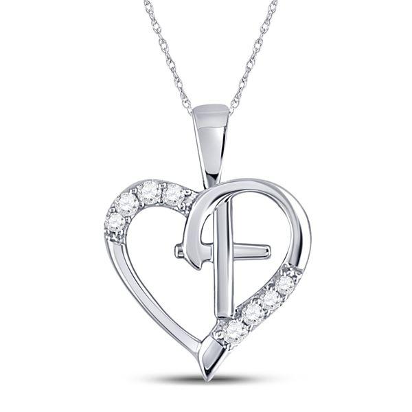 Round Diamond Nested Cross Heart Pendant 1/20 Cttw 10KT White Gold