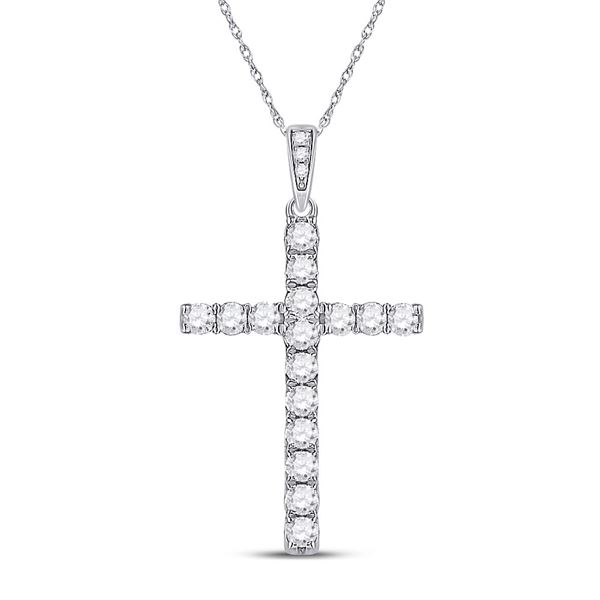 Round Diamond Cross Pendant 1/2 Cttw 14KT White Gold