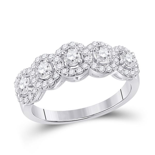 Round Diamond 5-Stone Anniversary Ring 1 Cttw 14KT White Gold