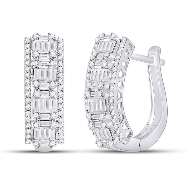 Baguette Diamond Fashion Cocktail Earrings 1-3/8 Cttw 14KT White Gold