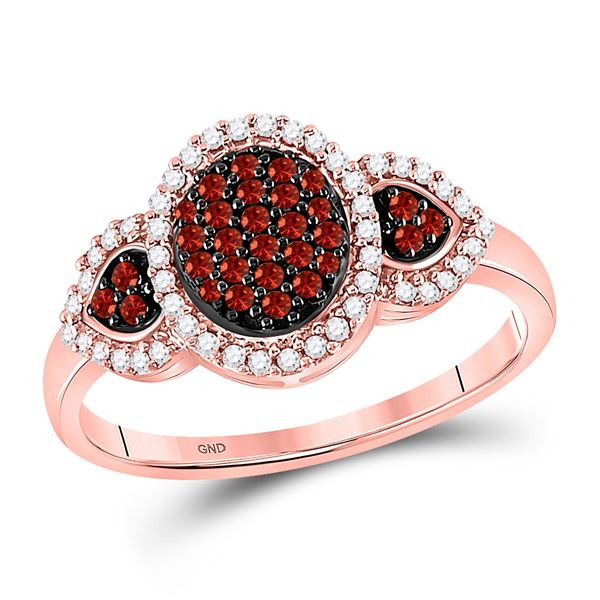 Round Red Color Enhanced Diamond Oval Cluster Ring 1/3 Cttw 10KT Rose Gold