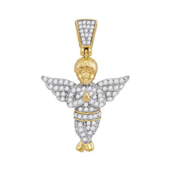 Round Diamond Guardian Angel Charm Pendant 1/2 Cttw 10KT Yellow Gold