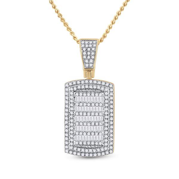 Round Diamond Dog Tag Charm Pendant 3/4 Cttw 10KT Yellow Gold
