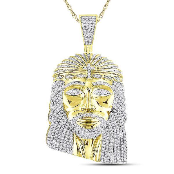Round Diamond Jesus Face Charm Pendant 1-1/4 Cttw 10KT Yellow Gold