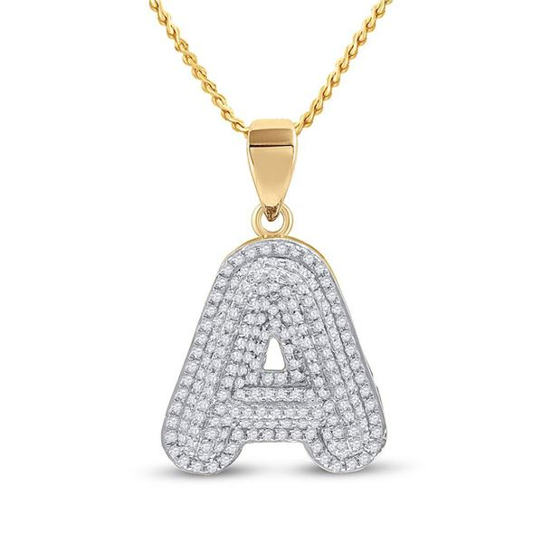 Round Diamond Initial A Letter Charm Pendant 1/2 Cttw 10KT Yellow Gold