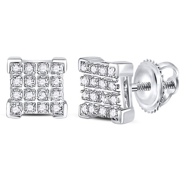Round Diamond Square Cluster Earrings 1/10 Cttw 10KT White Gold