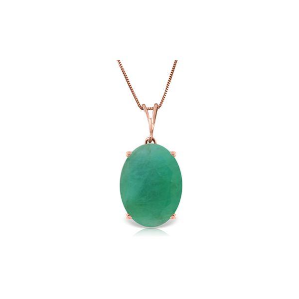Genuine 6.5 ctw Emerald Necklace 14KT Rose Gold - REF-84M3T