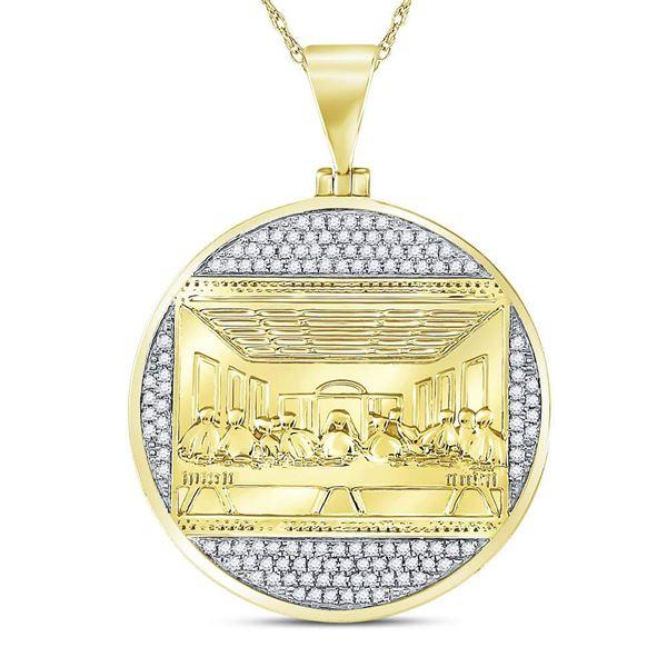Round Diamond Last Supper Religious Charm Pendant 1/2 Cttw 10KT Yellow Gold