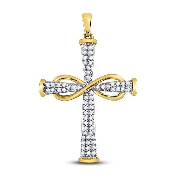 Round Diamond Cross Infinity Pendant 1/5 Cttw 10KT Yellow Gold
