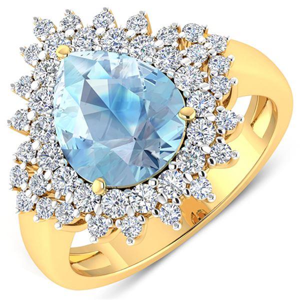 Natural 3.19 CTW Aquamarine & Diamond Ring 14K Yellow Gold - REF-115K6W