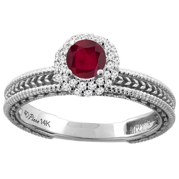 0.85 CTW Ruby & Diamond Ring 14K White Gold - REF-53V7R