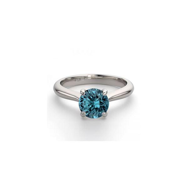 14K White Gold 0.83 ctw Blue Diamond Solitaire Ring - REF-153W4K